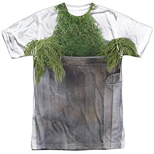 Sesamstrasse Klassisches Kinder-T-Shirt Oscar-Kostüm für Erwachsene - Weiß - XX-Large (Bert Und Ernie Kostüm T Shirts)