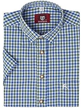 OS-Trachten Herren Trachtenhemd kurzarm grün blau karo 112338