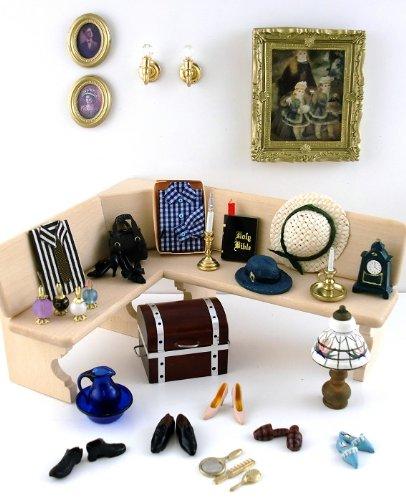 Miniatura Casa Delle Bambole Miste scala 1:12 Camera Da Letto Set Accessori Lotto Scarpe Profumo Cappelli Trunk