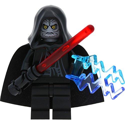 Lego Star Wars Minifigur Emperator Palpatine aus Set 10188 Todesstern incl. 1 GALAXYARMS Schwert sowie 2 Machtblitze (Lego Wars Minifiguren-set Star)