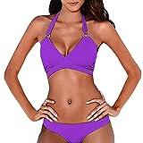feiXIANG Damen Bikini Set Verband Beachwear Einfarbig Badeanzug Push Up Frauen Split Badebekleidung (Lila,S)