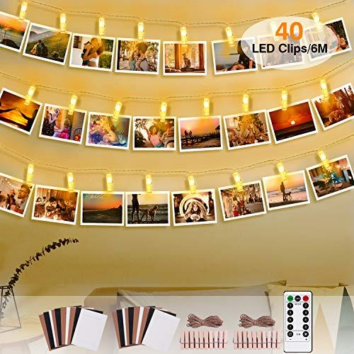Clip Cadena de Luces,GVOO 40LEDs 6m Foto Clips Cadena de luces,Guirnalda de Luces Blanco Cálido,Decoración para Foto Pared con 20 Marcos de Foto de Papel [Clase de eficiencia energética A]