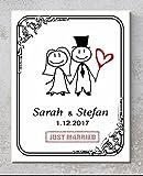 Keramik-Türschild Hochzeit – Just married – Personalisiert mit Namen und Datum, Türschilder mit Spruch, Sprüchen für Ehepaare als Hochzeitsgeschenk 20x25 cm