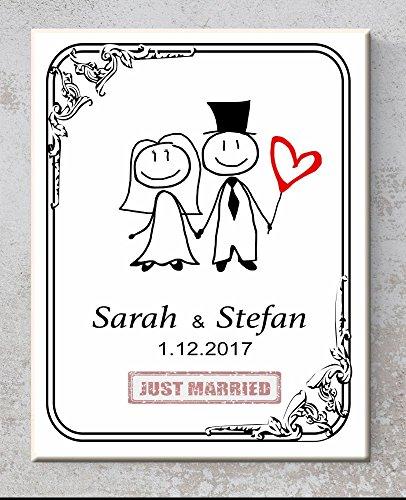 Familie Schmuck Personalisierte (Keramik-Türschild Hochzeit – Just married – Personalisiert mit Namen und Datum, Türschilder mit Spruch, Sprüchen für Ehepaare als Hochzeitsgeschenk)