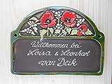 Keramikschild Türschild Mohnblumen wetterfest mit Wunschgravur Blume Keramik Haustürschild