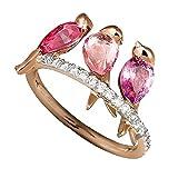 Siilrut Bague Unisexe créative avec 3 Oiseaux, Rubis incrusté, Bague en Or Rose avec Diamant Rose