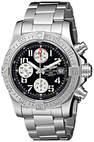 Breitling Avenger II Black Dial Chronograph Stainless Steel Automatic Mens Watch A1338111-BC33SS