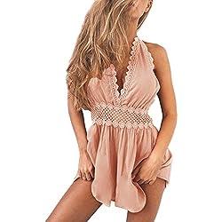 Minetom Femme D'été Sexy Casuel Plage Cocktail Soirée Combishort Romper Jumpsuit Strap V Neck Licou Dos Nu Fluide sans Ceinture Vest Short Chic Mini Combinaisons Pink FR 38