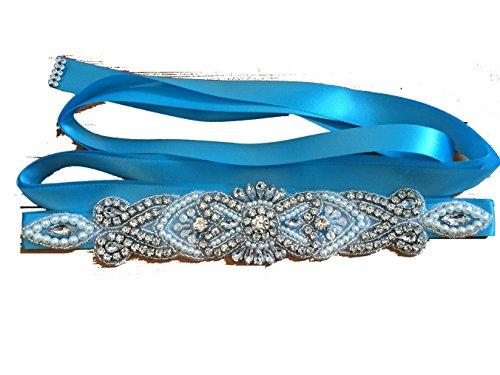 Lia Fashion Brautgürtel, Strassgürtel, 270x2 cm, Satin, Vintage türkis, hellblau blau, Vintage...