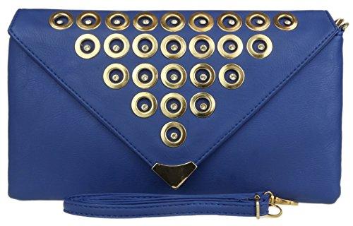 Unterarmtasche-Tasche Kunstleder Kreis Diamante Nieten V-Förmige Schulter Umschlag Abend Mode Modeschöpfer (Tasche Schulter Kreis Handtasche)
