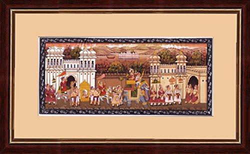 Splendid Indian Art prächtige indische Kunst Mughal Zeitraum königlichen Prozession 'Mughal König & Königin Hochzeit Prozession Szene' indische Miniaturmalerei auf Seide mit Naturstein & Wasserfarben