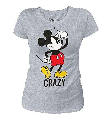 Mickey Mouse - Damen Vintage T-Shirt - Crazy Mickey (Grau) (S-XL) (L) -