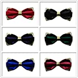 Sumferkyh Retro Metal Edge Dekoration Fliege Pre-Tied formalen Casual Bowtie für Anzüge und Smoking Einstellbare Länge für Männer Frauen Hochzeitsfeier (Farbe : Schwarz) Vergleich