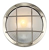 Stainless Steel Aluminium Outdoor Bulkhead Wall/Ceiling Light by Happy Homewares from Happy Homewares