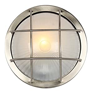 Stainless Steel Cast Aluminium Outdoor Circular Bulkhead Wall or Ceiling Light by Haysoms by Haysoms