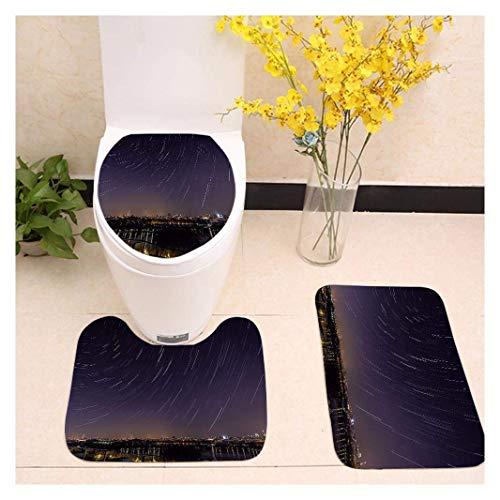 DX Dreiteiliges Toilettenset Universe Planet Black Druck Anti-Rutsch-Matte (Badezimmerteppich + Unterdecke + Toilettendeckel) (Farbe: Color2)