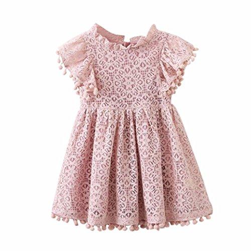 in Kleid Kleinkind Kinder, DoraMe Baby Mädchen Blumen Mustern Stickerei Party Kleid O-Ausschnitt Lässig Fly Ärmel Kleid (Rosa, 6 Jahr) (Rosa Unterwäsche Halloween)