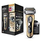 Braun Series 9 9299cc Elektrorasierer, für Männer, Wet und Dry-Funktion, mit Reinigungs- und Ladestation und Reise-Etui, Geschenkedition in gold
