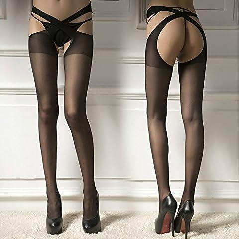 LPGSE-Sexy femmes dentelle Soutien-gorge ouvert entrejambe collant Lycra résille bas