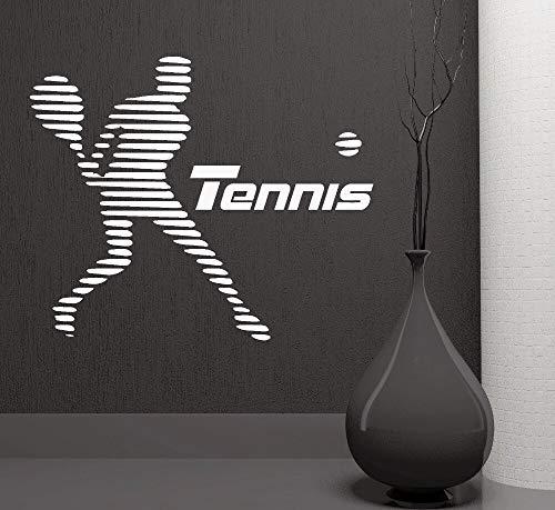 yiyitop Wandtattoo Vinyl Wandaufkleber Tennis Sport Retro Poster Kunstwand Faashional Dekoration Zubehör Repetable 57 * 48 cm