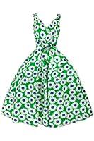 Ladies Rockabilly 50s Retro Swing Vintage Summer Sun Flower Floral Cotton Dress