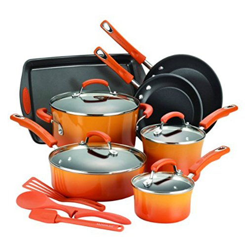 14-Piece Cookware Set Pan Orange