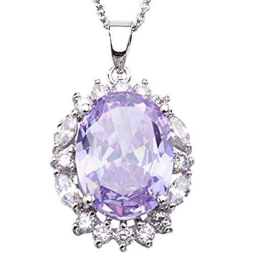 LF luce elegante viola pietra preziosa collana pendente collana del catenaccio dell'aragosta moda di mandare la sua ragazza - Argento Nome Blocco Collana