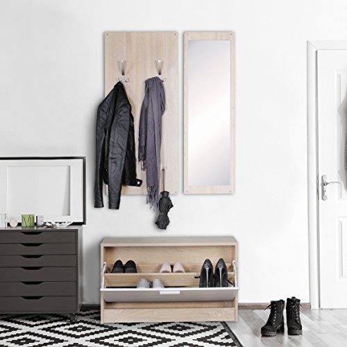 Kadimadesign armadio a parete jan con specchio scarpiera in truciolare sonoma. armadio moderno corridoio compatto per le giacche. armadio completo b: sonoma 80cm