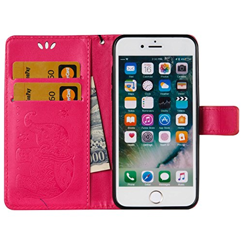 EKINHUI Case Cover Für Apple IPhone 7 Premium Leder Schutzhülle, weiche PU / TPU geprägte Textur Horizontale Flip Stand Case Cover mit Lanyard & Card Cash Holder ( Color : Red ) Red