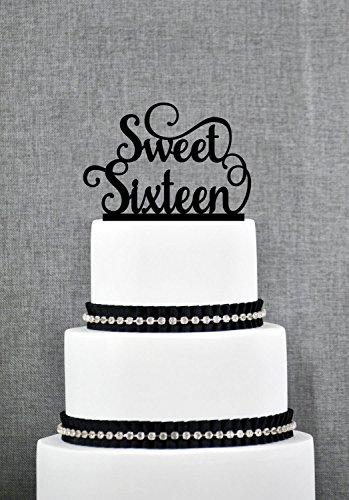 qidushop Elegante Sweet Sixteen Geburtstag Topper Script Birthday Cake Topper anpassbare Farben Geburtstag Geschenk für Damen Herren Geburtstag Party Dekorationen Topper