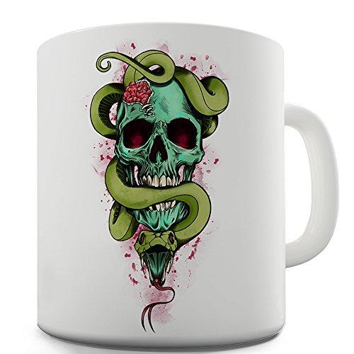 TWISTED ENVY Keramik-Tasse mit Totenkopf-Motiv, Grün, Keramik, weiß, 15 OZ (Halloween-zitate, Lustige Witze)