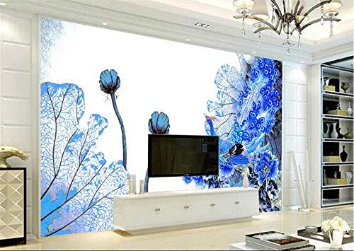 Wemall Elegant Peacock Chinese Wallpapers für Wände 3D Fototapeten für Wohnzimmer Tapeten Wohnkultur Blue Flowers @ 430x300cm