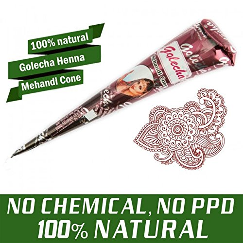 JPR - 3x 100% Natural Mehndi Cones (Red Brown), NO MIX, Halal Veg, Clinically tested & certified - for temporary Bodyart Tattoo Designs + SRK Postcard