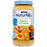 NESTLÉ Purés tarrito de puré de fruta, variedad Postre 6 Frutas, para bebés a partir de 4 meses - Paquete de 6 tarritos de 250 g