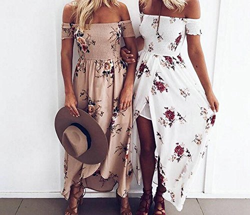 Himoya Womens Sommer Aus Schulter Strand Rock Blumen Print Beachwear Split Urlaub Maxi Kleid Cover Up Khaki