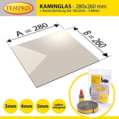 Kaminglas und Ofenglas 280 x 260 x 4 mm   Temperaturbeständig bis 800° C   » Wunschmaße auf Anfrage «   inkl. 10 x 2 mm Kamindichtung