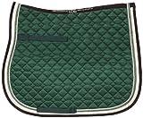 USG - Tapis de selle matelassé - Double passepoil corde - Vert foncé/écru/marron et bordure écru/vert clair - Taille poney