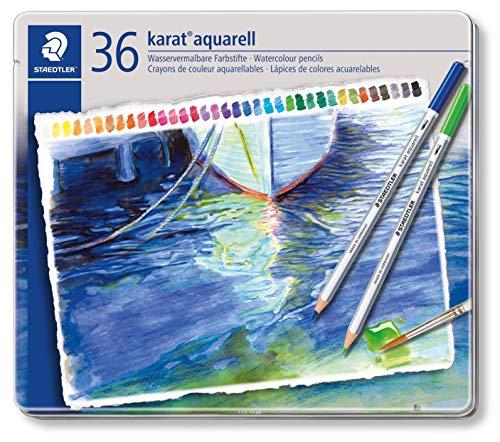 Staedtler karat aquarell matite colorate acquerellabili - scatola in metallo da 36