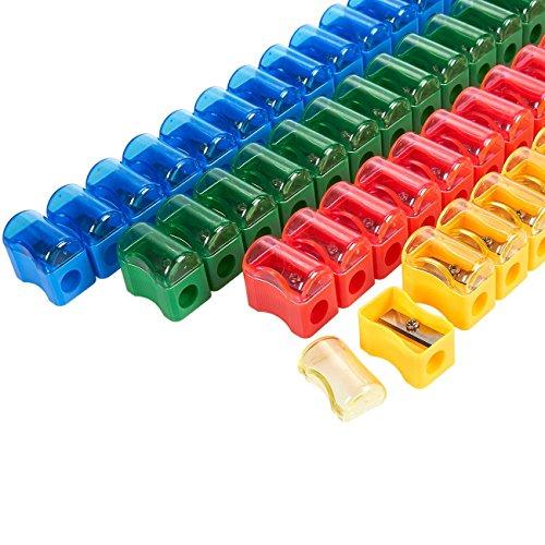 (juvale 72Bleistiftspitzer, Kunststoff–Bedienungsanleitung in verschiedene Farben, Mini Handheld mit Deckel, 1x 0,31,3cm)