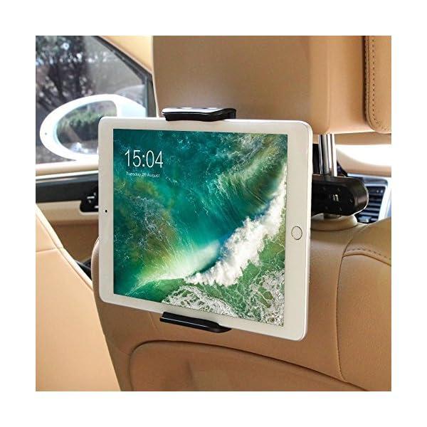 POOPHUNS Compatibile con Tablet e iPad Universale Supporto Tablet Poggiatesta Auto Regolabili Dimensioni Diverse Supporto Tablet Auto 360 Gradi di Rotazione Porta Tablet Auto Sedili Posteriori