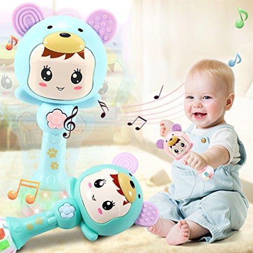 Baby-Beißring-Spielzeug, Säuglingsrassel-handliches Bell-musikalisches pädagogisches Spielzeug mit bunten Lichtern und sensorischen Beißring-Spielwaren