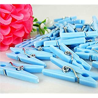 Adorox Small Clothes Pins Baby Shower Clothespin Favors Pink Girl Blue Boy Party Game (Blue (48 Pieces)) by Adorox