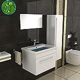 Badmöbel Komplettset mit Waschbecken aus Keramik Unterschrank Hochschrank und Spiegel mit Softclose-Funktion