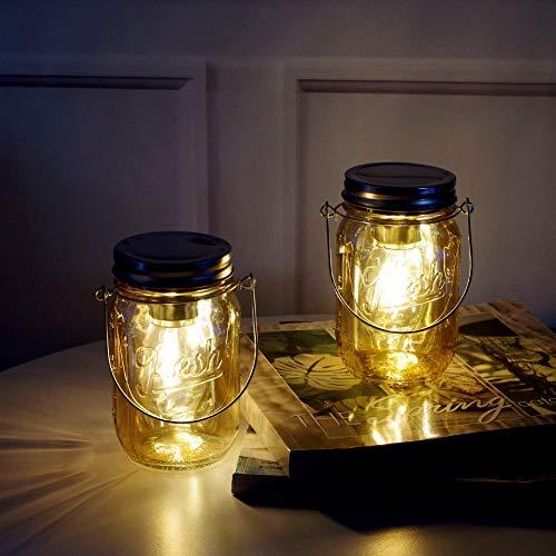 MJ PREMIER Mason Jar Lights Hanging Lights Outdoor Lanterns Hanging Lanterns Battery Operated Mason Jar Decor Table Light For Indoor Outdoor Set Vatertag Geschenk Modern bernsteinfarben (Deko-mason-gläser Für Halloween)