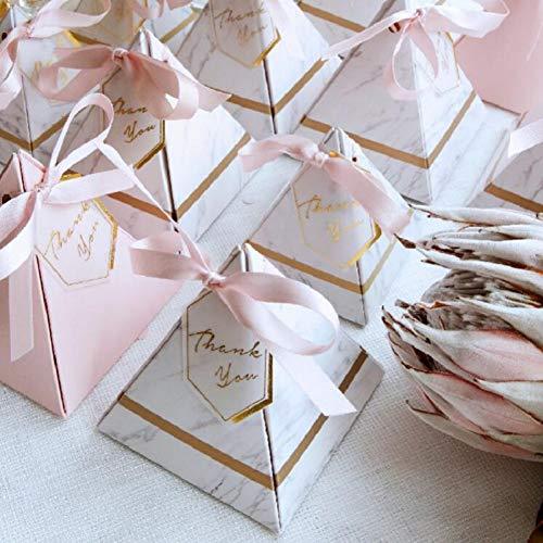 Neue europäische Dreieck-Pyramiden-Art-Süßigkeit-Kasten-Hochzeits-Versorgungsmaterial-Partei-Versorgungsmaterial-Papiergeschenk-Kasten mit Dankeskarte und Band