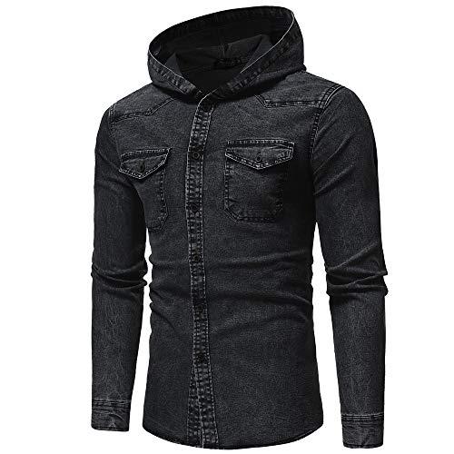 Jeanshemd Sannysis Herren Slim Fit Hemden Cowboy-Style Freizeithemd Herbst Winter Langarmhemd Mit Kapuze Knopf Vintage Distressed Denim Hoodie