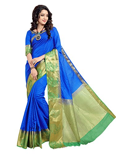 Woman style Woman's Banarasi jacquard silk BlueGreen Sarees with Poly cotton blouse