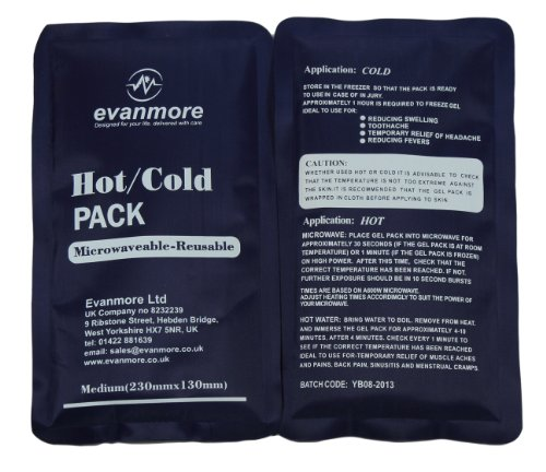 2 x Evanmore reusable hot cold pack packs ice heat gel physio compress 13 x 23cm