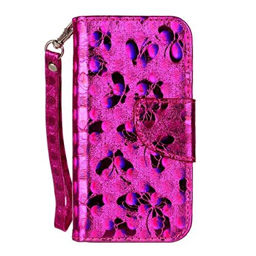 "MOONCASE iPhone 5/iPhone 5s/iPhone SE Flip Cover, [Butterfly Pattern] PU Cuir Étuis Case Built-in Support TPU Antidérapant Housse de Protection pour iPhone 5s/iPhone SE 4.0"" Bleu Hotpink"