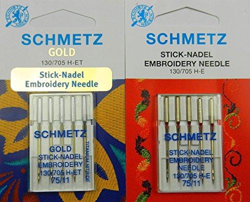 Schmetz Nadel Sortiment Gold Titanium Embroidery Sticknadeln St. 75/11